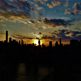 Sunset Silhouette by Hal Gonzales - City,  Street & Park  Skylines ( sunset, buildings, silhouette, nyc, cloudscape, clouds,  )