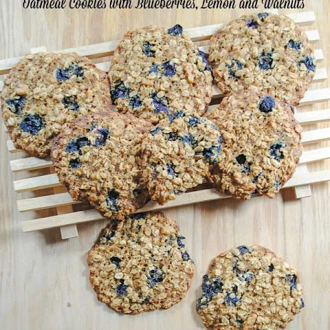 Lemon and Blueberry Oatmeal Cookies with Walnuts