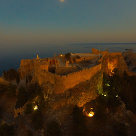 The Acropolis of Rhodes by Stephen Carrigan - Buildings & Architecture Public & Historical ( lindos, greece, aerial, travel, architecture, dusk, historic )