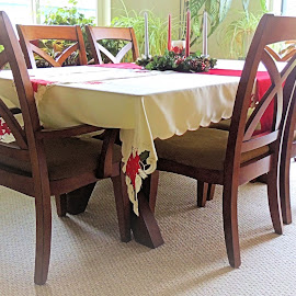 Table Dressed For the Holidays by Becky Luschei - Artistic Objects Furniture ( dressed, christmas, holidays, thanksgiving, table, furniture )