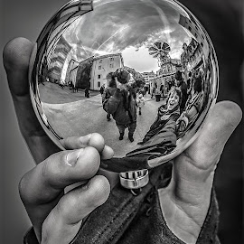Little world! by Jesus Giraldo - Artistic Objects Glass ( hand, concept, ball, art, street, glass )