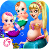 Cute Mermaid Mommy Care-Baby