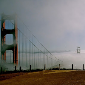Weighted Middle by Jeff Steiner - Buildings & Architecture Bridges & Suspended Structures ( golden gate bridge, fog, san francisco )