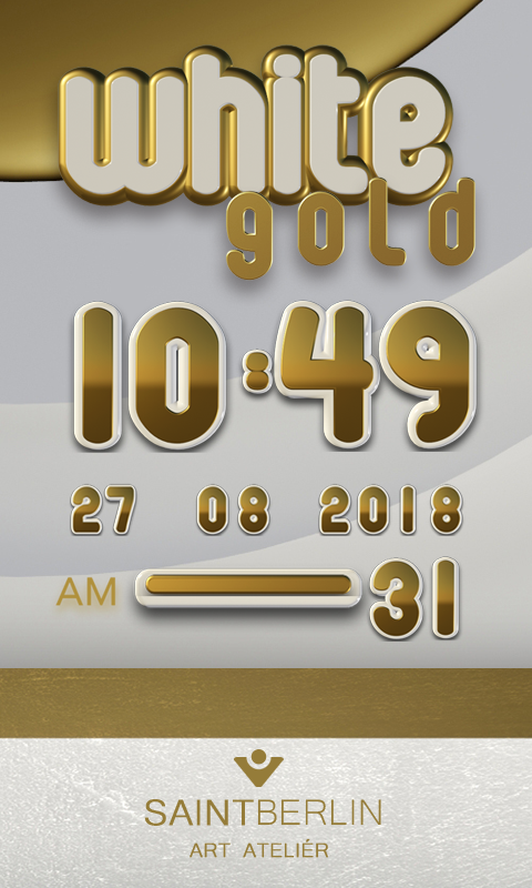 White Gold Digital Clock Screenshot 0
