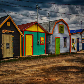 Color in Darkness by Richard Michael Lingo - Buildings & Architecture Other Exteriors ( nova scotia, annapolis royal, storage sheds., storm, evening )