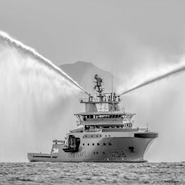 Coastguard by Benny Høynes - Transportation Boats ( blackandwhite, coastguard, sea, boat, norway )