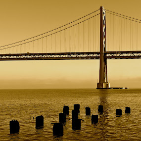 by Jeff Steiner - Buildings & Architecture Bridges & Suspended Structures ( san francisco bay, bay bridge, pilings, san francisco )