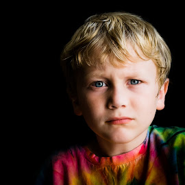 Brooding child by Jamie Hoff - Babies & Children Child Portraits ( child, brooding, color, child portrait, son, boy, photography, portrait, shadows )