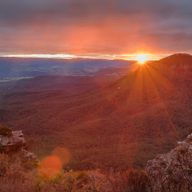 Sunset over Blue Mountains by James Wildbore - Landscapes Sunsets & Sunrises ( cahil's lookout, hdr bracketed, hdr, australia, blue mountains, photoshop )