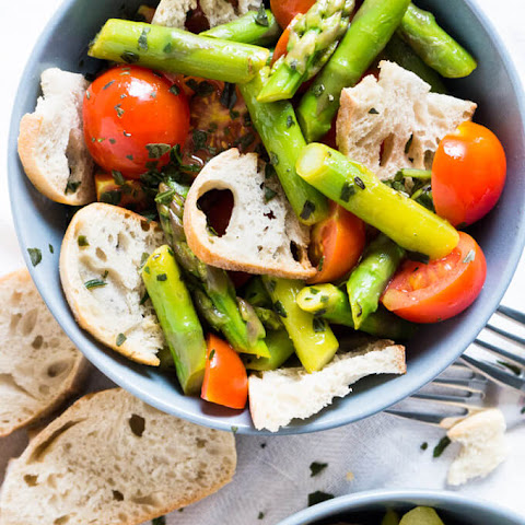 Warm Asparagus Garlic Bread Salad