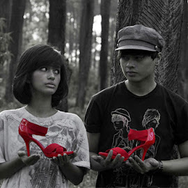 The Red Shoes by Angeline Frieda Kongsuadiputra - People Couples ( shoes, model, red, black and white, woman, man )