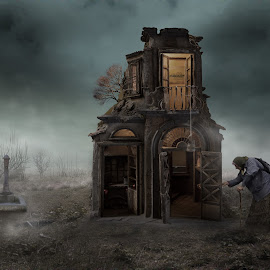 Home by Frank Quax - Digital Art People ( old house, fantasy, creative, mood, edit, house, old woman, landscape, people, photography, manipulation, photoshop )