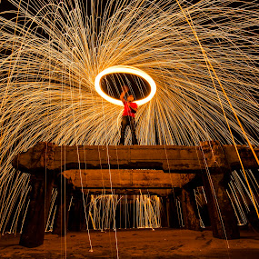 by Ravikanth Kurma - Abstract Light Painting ( thalankuppam pier, wire, spin, bridge, sparks, steel )