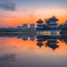 The Twin Pagodas @ Chinese Garden by Gordon Koh - City,  Street & Park  City Parks ( clouds, reflection, park, pagoda, asia, long exposure, lake, sunrise, travel, singapore, chinese garden )
