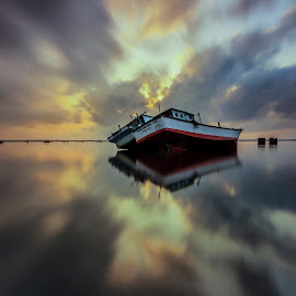 Finest Reflections by Choky Ochtavian Watulingas - Landscapes Travel ( clouds, seashore, shipwrecks, clouds and sea, reflections, cloudscape, seascape, sunrise, morning, skies )