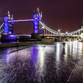 Tower Bridge by Charles Ong - Buildings & Architecture Bridges & Suspended Structures ( raining, london, street, tower bridge, night, wet, light )