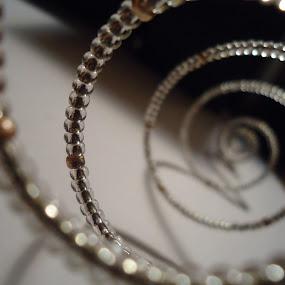 Silverish by Rachel Santellano - Abstract Patterns ( abstract, pattern, swirl, silver, beads )