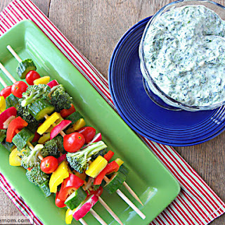 Mayo Free Cheesy Spinach Dip with Veggie Kabobs