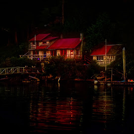 Descending Darkness by Garry Dosa - Landscapes Travel ( water, home, red, outdoors, summer, night, house, boat, landscape, evening, darkness )