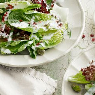 Baby Lettuces with Goat-Cheese Dressing, Pistachios, and Pink Peppercorns