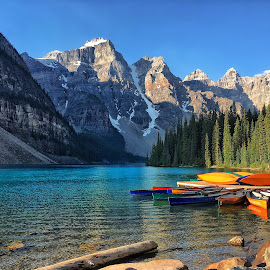 Moraine Lake by Margie Troyer - Landscapes Waterscapes