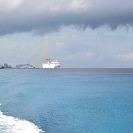 Take Me Away by Robin Stover - Novices Only Landscapes ( clouds, blue, cruise ship, sea, ocean, travel, boat, tropics )