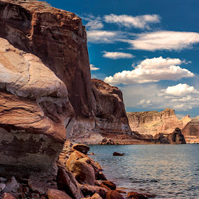 Lakeside by Jon Kinney - Landscapes Waterscapes ( water, stone bluffs, lake )