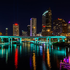 Tampa, Florida by Kelly Marley - City,  Street & Park  Skylines ( nightlight, night, architecture, cityscape, city,  )