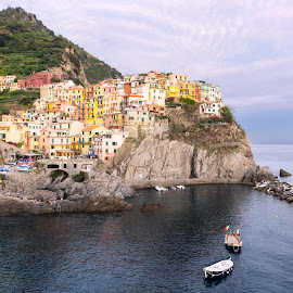 Manarola View, Cinque Terre, Italy by Mihai Toropoc - Landscapes Travel ( shore, cinque terre, tuscany, toscana, sea, manarola, manarola view, italy, city, historical places )