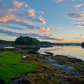 Harpswell First Light by Joe Fazio - Landscapes Waterscapes ( cundy's harbor, lobster, harbor, harpswell, bay, maine new meadows river )