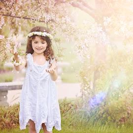 Blossom Fairy by Darya Morreale - Babies & Children Children Candids ( girl, fairy, garden, spring, blossom )