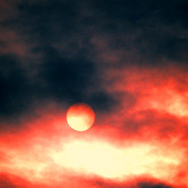 The Sun by Sandra Aguirre - Landscapes Weather ( sky, red clouds, moody, sun, skyscape )