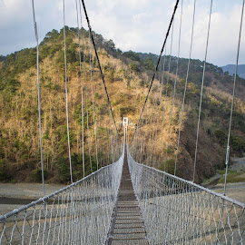 Hanging Bridge by Sherisse Condenuevo - Novices Only Landscapes ( sky, bridge over troubled water, mountain, leading lines, mountain bridge sky, iron bridge, mountain bridges, leading line bridge, hanging bridge, bridge, bridges )
