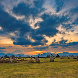 by Andrew Oxby - Landscapes Cloud Formations ( history, clouds, sunset, stone circle, landscapes, neolithic )