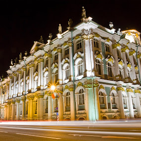 The State Hermitage Museum by Alexey Petrov - City,  Street & Park  Historic Districts ( saint-petersburg, night, museum, hermitage )