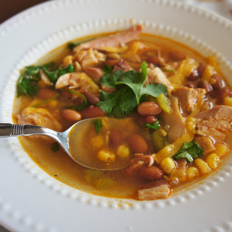 Slow Cooker Recipe for Easy Spicy Corn, Bean and Rotisserie Chicken Soup