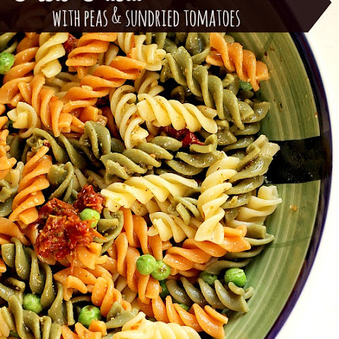 Pesto Pasta with Peas and Sun Dried Tomatoes