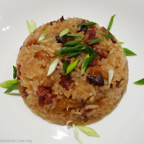 Chinese Stir Fried Glutinous Rice With Chinese Sausage, Dried Shrimp And Shitake Mushrooms