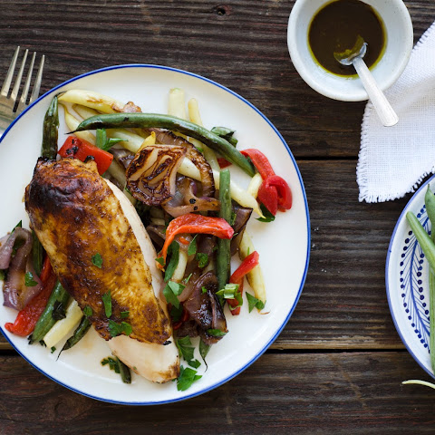 Balsamic Chicken With Heirloom Beans And Roasted Onions