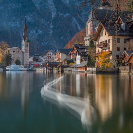 Swan of Hallstatt by Rashid Ramdan - Buildings & Architecture Public & Historical ( europe, village, swan, long exposure, travel, hallstatt, salzkammergut, heritage, austria )