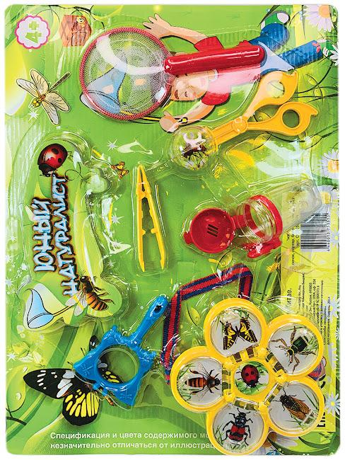 """Игровой набор для ловли насекомых, IQ test, """"Юный Натуралист"""" - Сачок, Сортер, Баночка, Пинцет, Лупа"""