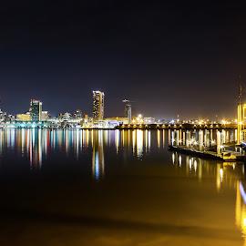 The Pier  by Anderson Lindblom - City,  Street & Park  Night ( water, san diego, skyline, california, ocean )