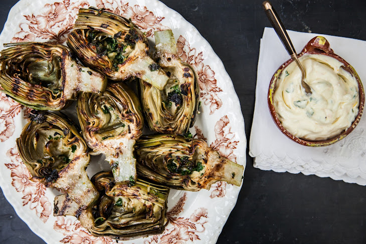 Grilled Artichokes with Lemon Garlic Aioli Recipe | Yummly