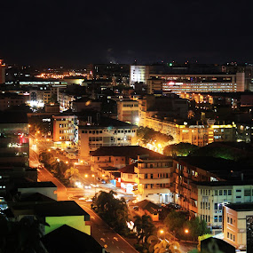 Night scene by Juanis Attau - City,  Street & Park  City Parks ( kota kinabalu at night, night kota kinabalu )