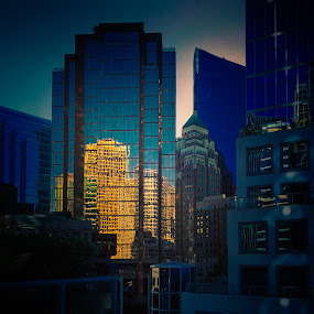 Evening in Downtown Vancouver by Karin Wollina - Buildings & Architecture Office Buildings & Hotels ( highrise, houses, canada, mirrored, vancouver,  )