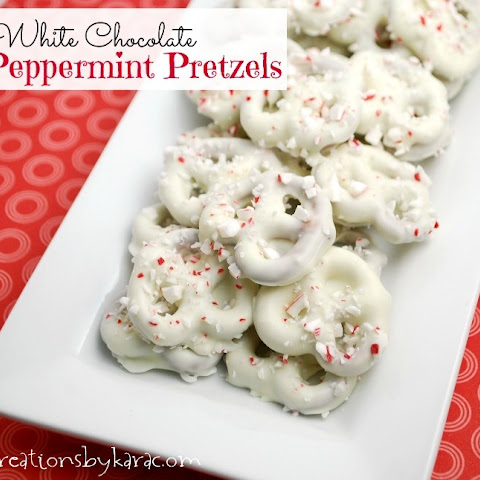Peppermint White Chocolate Pretzels