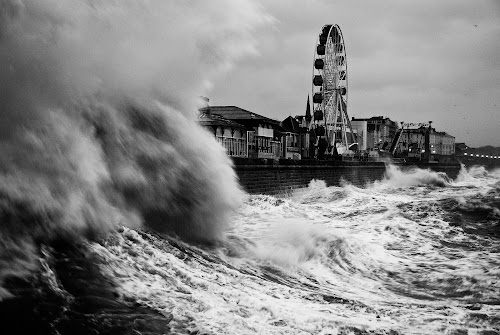 'Out of Season' - Bridlington UK by Scott Scully  - Landscapes Waterscapes ( wave, dramatic, storm )