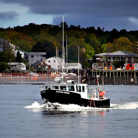 Lobster boat by Alex  Wolf - Transportation Boats ( alex wolf, new england, wolfproduction.us, ocean, lobster, seascape, fishing, boat, new hampshire )