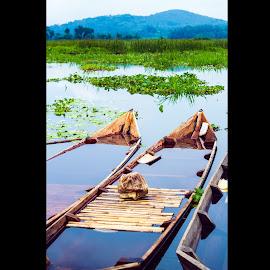 Mountain of RawaPening by Dwinda Mauwaldi C - Landscapes Travel ( mountain, waterscape, indonesia tourism, indonesia, semarang, lake, boat )