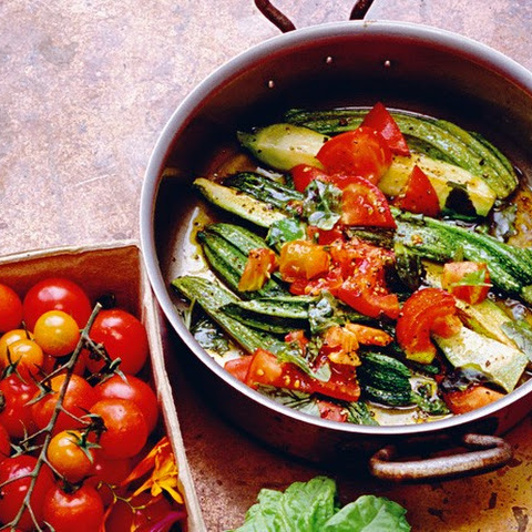 A Supper of Zucchini, Tomatoes, and Basil